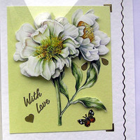 White Flowers Hand-Crafted 3D Decoupage Card - With Love (1593)