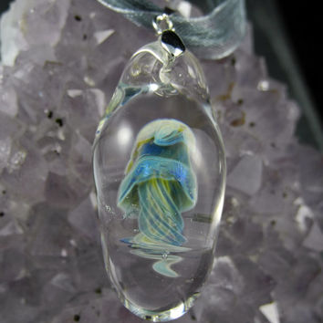 Blue Green Yellow Borosilicate Glass Jellyfish Pendant, lampwork, flamework, blown boro glass