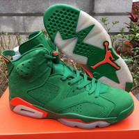 Original Air Jordan 6 Gatorade Men Basketball Shoes 6S Green Suede Sports Sneakers