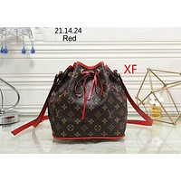 LV Louis Vuitton 2018 new female bag bucket bag wild diagonal shoulder bag F-LLBPFSH Red