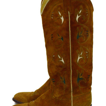 Vintage 80s Floral Tooled Leather Women's Cowgirl Western High Heel Boots