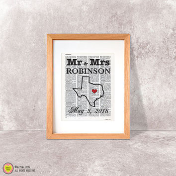 Mr and Mrs print-wedding print-quote on book page-couple print-custom print-love print-anniversary print-state map print-NATURA PICTA-DP031