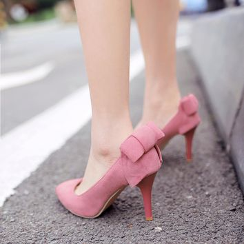 Aristocratic Style Pointed Shallow High-Heeled Shoes