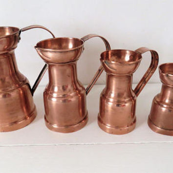 Vintage French, 4 Copper, Jug, Pitcher, Set