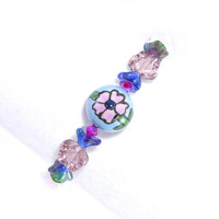 Garden Flower Bracelet – Czech Glass Small Memory Wire Wrap Bangle – Pastel Jewelry – Birthday Gift for Her