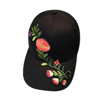 Fashion Baseball Hat Cap Women Cotton Applique Flower Embroidery Gorra Snapback Women Caps Pink Black White   New #23 SM6