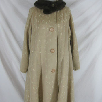 1940s 1950s Beige Cream Wool Swing Mink Vintage Coat Jacket Womens W60