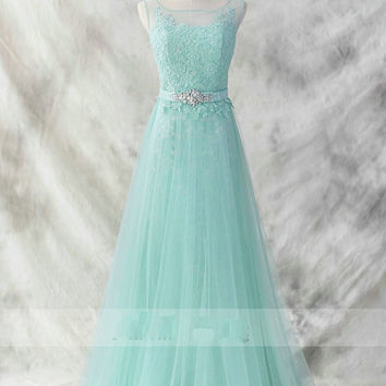 Fashion Mint Sheer Lace Bateau Crystal Evening Prom Dress A line Tulle Hollow Back Long Cheap Formal Gowns 2015