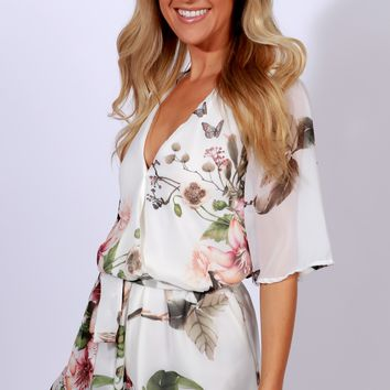 Delicate Love Floral Romper Ivory