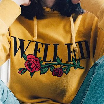 Yellow Rose and Letter Print Drawstring Hoodie