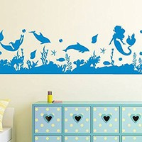 Mermaid Wall Decal Underwater Fish Animal Ocean Nautical Decor Seascape Vinyl Sticker Decals Girls Nursery Home Bedroom NV153