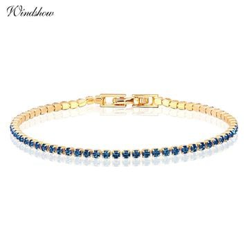 10colors  Yellow Gold Color Cluster CZ Crystals Slim Tiny Tennis Chain Bracelets for Women Girls Jewelry Pulseira feminina