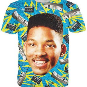 Fresh Prince Will Smith The Fresh Prince of Bel-Air All Over Full Print 3D Diy Sublimated Polyester Blend Unisex T-Shirt
