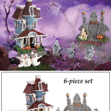 Collectible Miniature Halloween Graveyard - 6 pc
