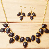 Black Statement Necklace Earring Set,Teardrop Bib Necklace Earrings, Necklace for 2014 Summer