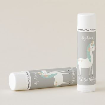 Gold Teal and White Floral Unicorn Birthday Favors Lip Balm
