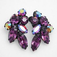 Purple Rhinestone Earrings Regency Vintage Jewelry