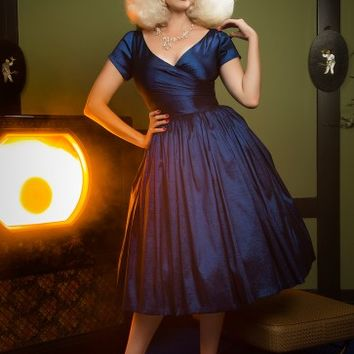 Pinup Couture Ava Swing Dress in Dark Blue Taffeta