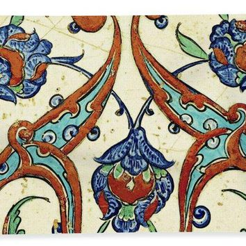 An Ottoman Iznik Style Floral Design Pottery Polychrome, By Adam Asar, No 23a - Bath Towel