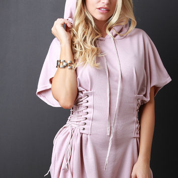 French Terry Hooded Corset T-Shirt Dress | UrbanOG