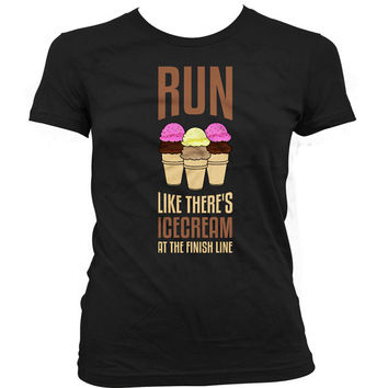 Funny Running Shirt Run Like There's Ice Cream At The Finish Line Gym Tops Workout Shirts Fitness Clothing Workout Tops Ladies Tee WT-36A