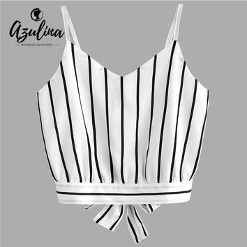 AZULINA Women Tank Tops Bowknot Cut Out Stripes Cropped Cami Tank Top Camisole Casual Sweet Girls Crop Top Summer Women Clothing