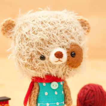 Stuffed animal bear made to order Mei by knittingdreams on Etsy