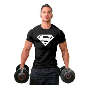 Workout Clothes Cotton Superman Gyms T Shirts Plus size XS-2XL Mens T-shirt Muscle Gyms Fitness Clothing Bodybuilding Tops