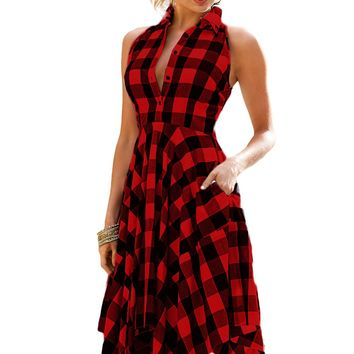 Red Black Denim Checks Flared Shirtdress