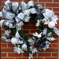"""Large Christmas Wreath """"Wintertime Wishes"""", Large Luxury Wreath, Home Decor, Christmas Floral, Wreath Decor, Christmas Floral, Winter Floral"""