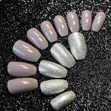 Shiny Dark Nude Fake Nails Ballerina Sparkly Silver Glitter Shimmer Acrylic Nail Tips Pre-designed Nails art 24pcs in box Z908