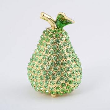 Golden Pear Faberge Style Trinket Box Decorated with Green Swarovski Crystals Handmade Trinket Box by Keren Kopal