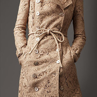 Long Lace Trench Coat