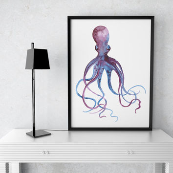 Nautical watercolor decor Octopus print Marine poster