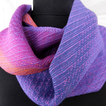 Multicolor Cowl Scarf, Double-sided Bamboo Cowl, Short Handwoven Scarf