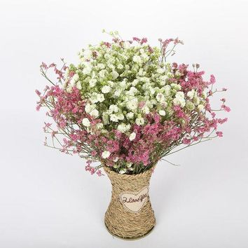 DCCKUN7 White gypsophila dried flower bouquet large bunch of home living room decoration crystal grass forget-me lover grass with vase