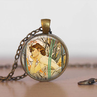 Mucha art pendant necklace with rolo style chain, art jewelry, art deco, art nouveau, art by Alphonse Mucha,  made in USA