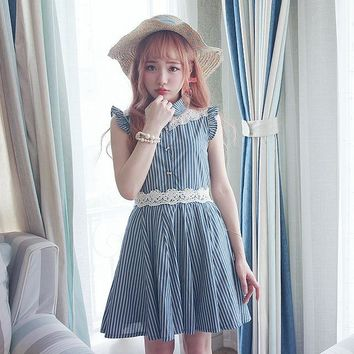Princess sweet lolita blue dress BOBON21 Cotton denim blue Dumbo sleeve stripes A-line  Embroidery Japanese design D1372
