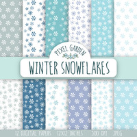 SALE - 50% OFF. Snowflakes Digital Paper Pack, Winter Scrapbooking Paper. Snowflakes Digital Clip Art. Grey and Blue Printable Paper.