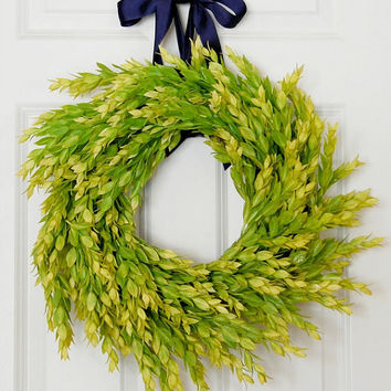 Bright Greenery Wreath, Simple Wreath, Front Door Wreath, Spring Wreath, Summer Wreath, Indoor Wreath, Year Round Wreath