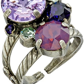 "Sorrelli ""African Violet"" Crystal Assorted Rounds Ring, Size 7-9"