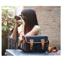 Sanlise Black Waterproof Vintage Canvas Camera Bag Messenger Bag for DSLR Camera and Lens Canon 5DII 7D Nikon D90