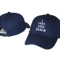 I FEEL LIKE PABLO Hat Kanye West Yeezy Yeezus THE LIFE OF PABLO Embroidered Cap Tan Fitted Trucker Blue Sun Hat