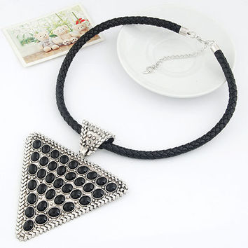 Retro Exaggerated Triangle Temperament Necklace with Weaving String, Rocker Style Jewelry, Party Jewelry, Birthday Gift  11022383