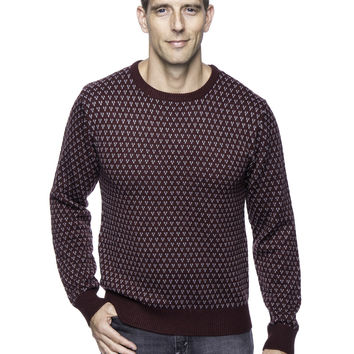 Wool Blend Crew Neck Pullover Sweater with Jacquard Effect - Bordeaux/Heather Grey