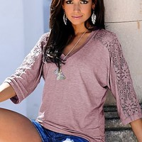 Lace sleeve v-neck top from VENUS