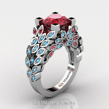 Art Masters Nature Inspired 14K White Gold 3.0 Ct Rubies Blue Topaz Engagement Ring Wedding Ring R299-14KWGBTR