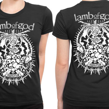 Lamb Of God Resolution Black And White 2 Sided Womens T Shirt