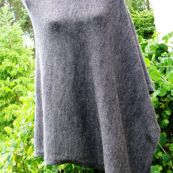 gray poncho knitted scarf shawl stole mohair Merino wool  soft gentle stylish trendy comfortable Very warm and lightweight  knitted coat