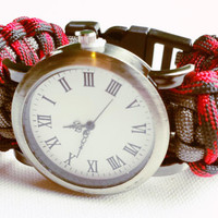 Paracord Watch - Men's Watch - Survival Bracelet - 550 Paracord - Red Paracord - Red Watch - Gifts for Him - Christmas Gift for Dad